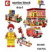 Babytintin Fast Food Restaurant Blocks Building Block Bricks Toys for Girls and Boys - 1729 Pcs