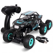 Rolytoy 6WD 1/14 Scale RC Car Trucks for Adults, Off Road Remote Control Monster Truck (RTR), 2.4Ghz Radio Controlled Racing Buggy Vehicle for Kids & Adults Blue