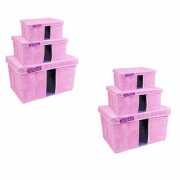 PrettyKrafts Storage Combo Pack of 6 Pink/Organizer/Storage Box/Toys Storage Box/Books Storage Box