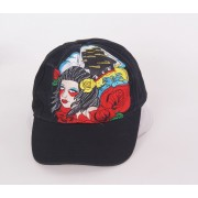 Katoenen tattoo cap zwart met meisje loos-motief
