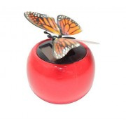 A Flip Flap Wings Dancing Butterfly Flying in a Red Pot - Bobble Plant Solar Toy