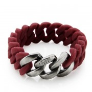 The Rubz Natural Silicone 15mm Unisex Bracelet Red Wine & Antique Silver