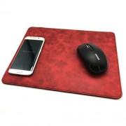 2 в 1 безжично зарядно за телефон и кожена подложка за мишка - червено, черно или кафяво