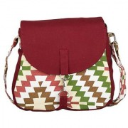 Vivinkaa Maroon Multi Canvas Sling Bag for Women