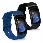 kwmobile 2X Pulsera Compatible con Samsung Gear Fit2 / Gear Fit 2 Pro Brazalete de Silicona Azul Oscuro/Negro sin Fitness Tracker