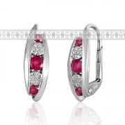 Diamantové náušnice, bílé zlato briliant, rubín 3881038-0-0-94