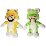 """Set of 2 Super Mario 3D World Plush Series Plush Doll ~ 9"""" Cat Mario & 9"""" Cat Luigi"""