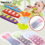 Safety Soft Spoon Baby Flatware Spoon Kids Child Solid Feeding Spoon Flatware Tableware With Box Utensils Tongue Pressing Type