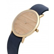 Analog Watch Classic Silverheart Wood Dial & Navy Strap Watch GN-CS
