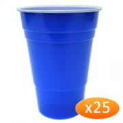 """""""American Blue Plastic Party Cups - 425ml (25 Pack)"""""""