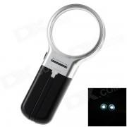 TH-7006 multifuncion plegable 60 mm lupa 3X w / 2 x LED-negro + plata (2 x AA)