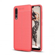 Huawei P20 Pro Litchi Texture Soft TPU Protective Back Cover Case(Red)