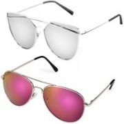 Elligator Round Sunglasses(Silver, Orange)