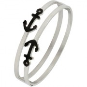 Anchor Black Enamel 316L Surgical Stainless Steel Silver Openable Bangle Cuff Kada Bracelet For Men