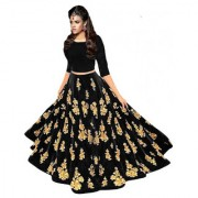 New Designer Black Colour Velvet Material Wedding Party And Function Wear Lehengha For Women And Girl(MSBlack)