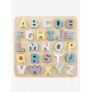 VERTBAUDET Puzzle de letras de encaixar, em madeira bege medio liso com motivo
