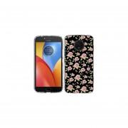 Funda Para Celular Motorola E4 Plus Flores Negro