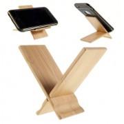 Shop4 - Universele Houten Bamboe Smartphonehouder Licht Bruin