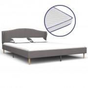 vidaXL Легло с матрак от мемори пяна, светлосиво, плат, 160x200 cм