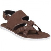 Shoegaro Men's Brown Synthetic Leather Party Casual Sandal