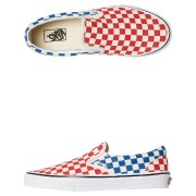 Vans Mens Classic Slip On Checkerboard Shoe Red Blue