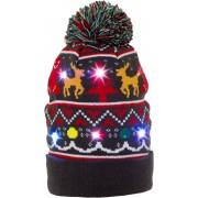 JAP Kerstmuts met lichtjes - Beanie met kerst verlichting - Koekje met motieven