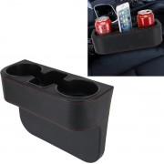 LET OP DE AFMETINGEN!!! Autostoel Spleet Opbergdoos Cup Bekerhouder Auto Pocket Opbergen Opruimen voor Telefoon Pad Kaart Muntenvakje Auto-accessoires (Zwart) 27.5*20.5*11cm