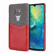 WUXUN-PHONE CASE A Prueba de choques Caja del teléfono for Huawei Mate 20 Tarjeta Minimalista de Cuero + Ranura Lienzo Tela Tipo de Caja Slim Fit Cierre la Cubierta (Color : Red)