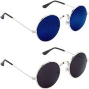 Rich Club Round Sunglasses(Black, Blue)