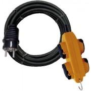 Minoségi muanyag kábel powerblock-al 5m fekete H05VV-F 3G1,5