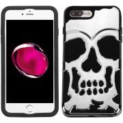 Funda Case Para Iphone 8 Plus / Iphone 7 Plus Doble Protector De Uso Rudo - Calavera Silver