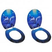 vidaXL Capace WC cu închidere standard, 2 buc., MDF, Delfin