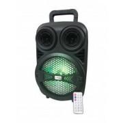 Boxa portabila Lige cu Bluetooth AUX-in Radio FM Cititor USB Card TF Lumini LED DJ Telecomanda Negru