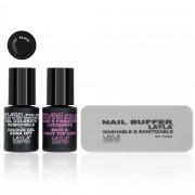 LAYLA Cosmetics Kit Base e Top Coat, smalto gel nero, buffer