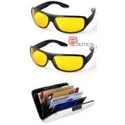 Ediotics Set of 2 Night Driving Sunglasses- Yellow & Alumi Wallet Combo