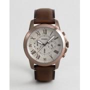Fossil Часы-зронограф со светло-коричневым кожаным ремешком Fossil FS5344