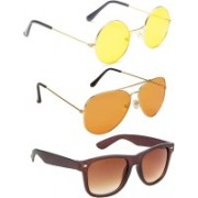 Elligator Round, Aviator, Wayfarer Sunglasses(Yellow, Orange, Brown)