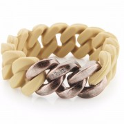 The Rubz Natural Silicone 20mm Unisex Bracelet Light Olive & Antique Rose Gold