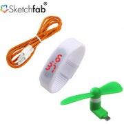 Sketchfab Combo of Aux Cable LED Watch Silicon With V8 OTG Fan - Assorted Color