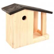 Merkloos Vogelhuisje / nestkastje en voedertafel 24,4 cm