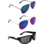 Zyaden Aviator, Aviator, Wrap-around Sunglasses(Blue, Blue, Black)