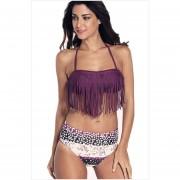 Trajes de baño Bikini de 2 piezas con Flecos estilo Bohemia y Americano -Purpura