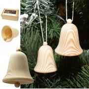 Ozdoba vianočná zvonček drevený bal 6ks