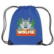 Bellatio Decorations Wolfie de Wolf trekkoord rugzak / gymtas blauw voor kinderen