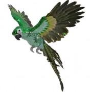 Decoris Groen/geel woondecoratie beeld vliegende ara papegaai vogel 40 cm