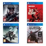Комплект игри Destiny 2 + Homefront: The Revolution + Dishonored: Death of the Outsider + Wolfenstein: The Old Blood за PlayStation 4, PS4