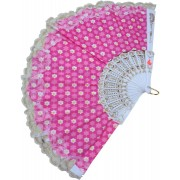 DCS Foldable Printed Pink Hand Fan(Pack of 1)