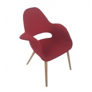 Replica Eames/Saarinen Organic Chair-Premium Red Soft Cashmere fabric with natural legs