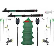 Set complet pescuit format din 2 lansete 2 mulinete 4 suporti 2 senzori 1 juvelnic 2 swinger 2 forface 1 racheta momit