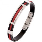 The Jewelbox Biker Red Silicon Stainless Steel Openable Kada Bracelet For Men